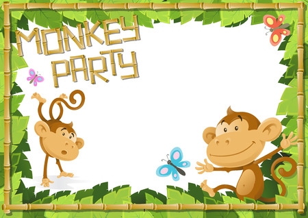 Fun Monkey Party Jungle Border  Vector