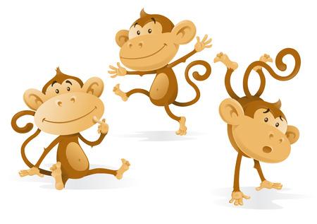 tanzen cartoon: Drei sehr Cheeky Monkeys