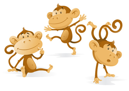 monkey cartoon: Three Very Cheeky Monkeys Illustration