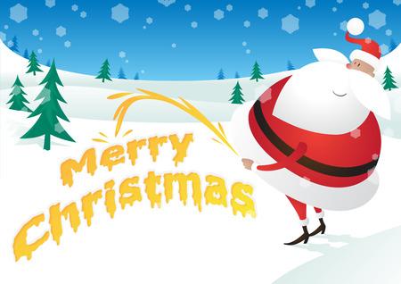 pis: Rude Santa admite el pis y dice Feliz Navidad Vectores