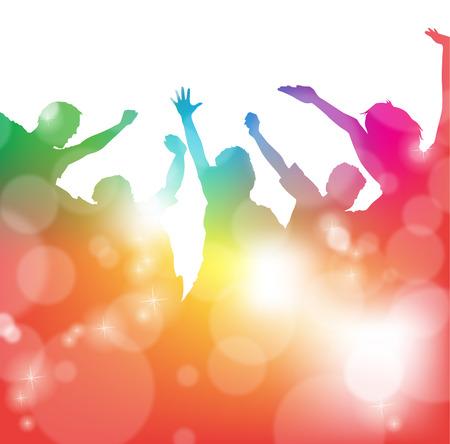 juventud: Personas animando en el Festival Vectores
