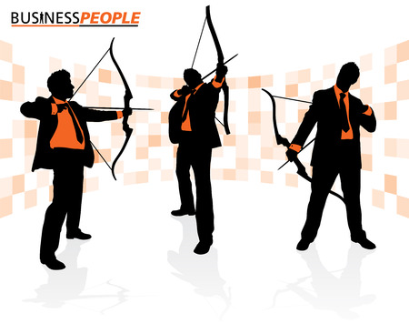 Business Men with Bows and Arrows Stock Vector - 22388273