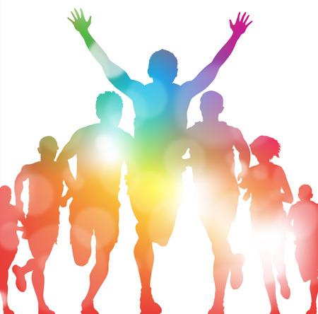 Gewinnen Athlet in einem Sommer-Rennen Standard-Bild - 22388275