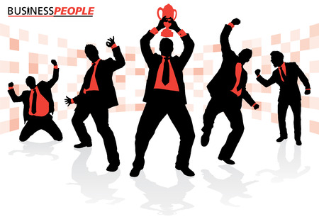 victorious: Business People in Winning Poses Illustration