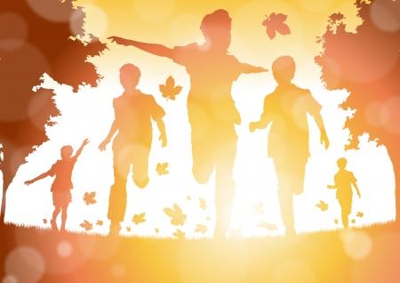 niño corriendo: Resumen Muchachos que se ejecutan en las hojas de otoño