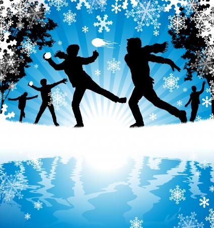 Winter sneeuwballengevecht Vector Illustratie