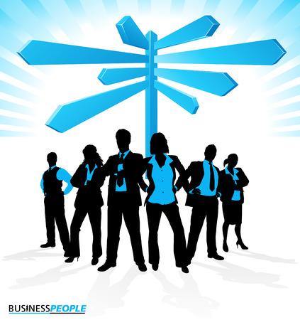 coworker banner: Business Team find Direction  Illustration