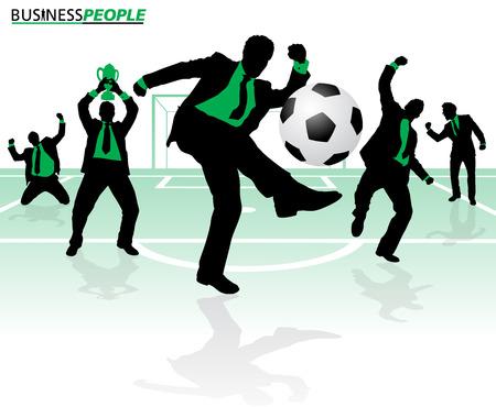 Biznes Ludzie sukcesu w piłce nożnej Ilustracja