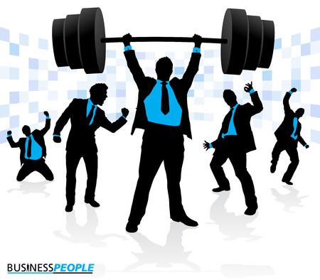 under pressure: Businessman Lifting under extreme pressure  Illustration