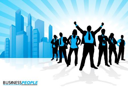 Winning Business Team tegen City Skyline