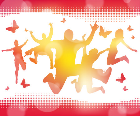 crowd cheering: Abstract Summer Jumping Youths Illustration
