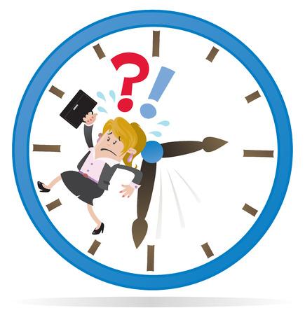 business stress: Amigos empresaria est� acabando el tiempo Vectores