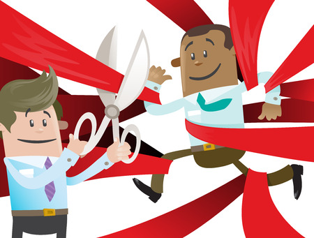Ethnic Business Buddy is Cut Free from Red Tape  Illustration