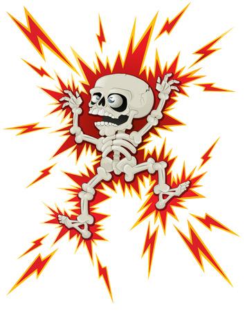 descarga electrica: Esqueleto de Halloween consigue un choque Vectores
