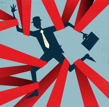 bureaucracy: Abstract Businessman caught in Red Tape  Illustration