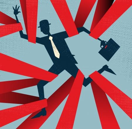 red man: Resumen de negocios atrapado en la burocracia Vectores