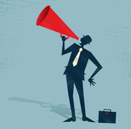 audio speaker: Abstract Businessman with Megaphone