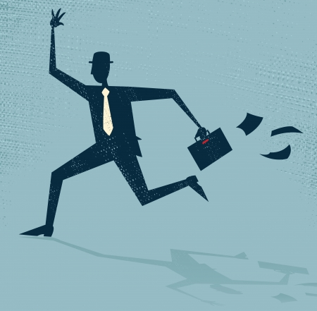 chasing: Abstract Businessman Running Late