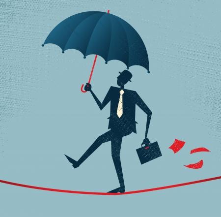 risky: Abstract Businessman walks a precarious tightrope