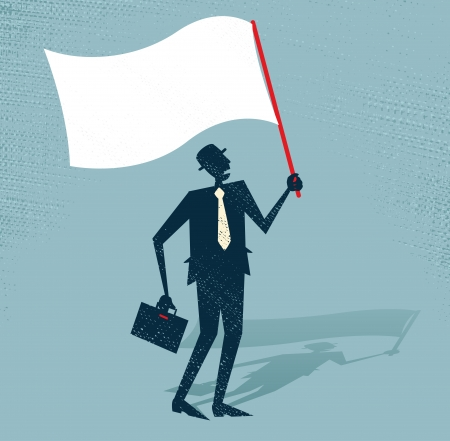 defeat: Abstract Businessman waves the white flag of defeat  Illustration