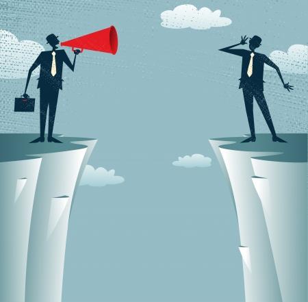 bluff: Gli uomini d'affari astratti comunicano a distanza Vettoriali