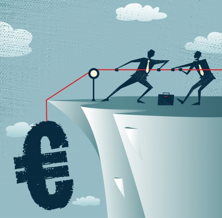 precipice: Abstract Businessmen work together to save the Euro  Illustration