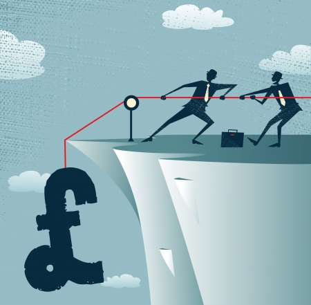 precipice: Abstract Businessmen work together to save the Pound  Illustration
