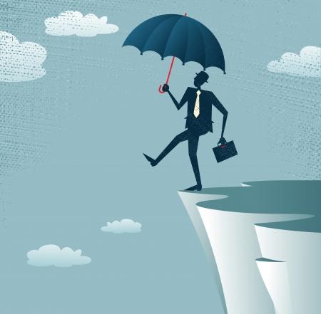 Streszczenie Biznesmen idzie z urwiska