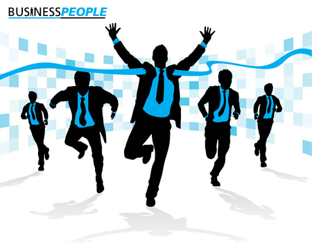 Business Men in Career Race Vector