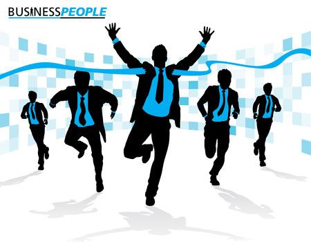hombres corriendo: Los hombres de negocios en Race Carrera