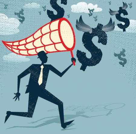 Abstract Businessman chasing and netting Dollars