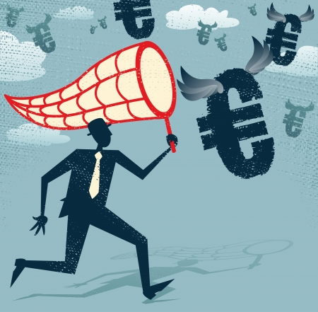 Abstract Businessman chasing and netting Euros   Vector