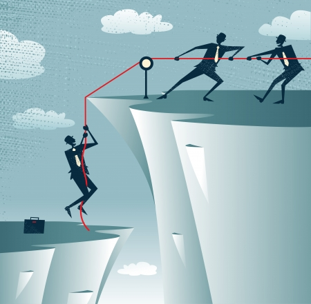 Abstract Businessman gets help from the Team  Ilustracja