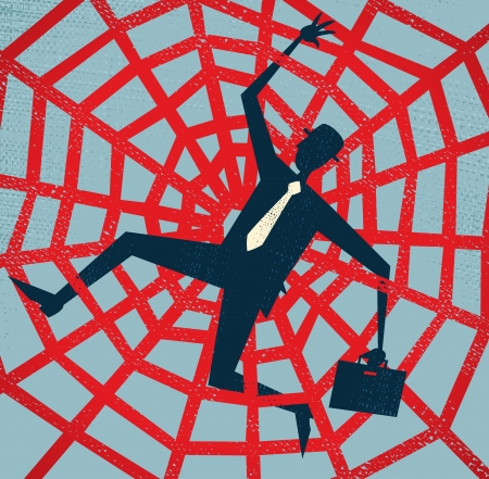 Abstract Businessman caught in a Spiders Web  Vector