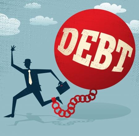 ligotage: R�sum� d'affaires enferm� dans une boule de la dette et la cha�ne