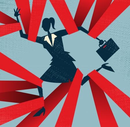 worried executive: Abstract Businesswoman caught in Red Tape  Illustration