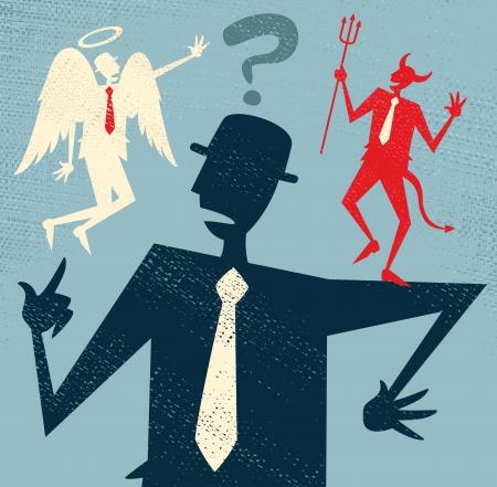 抽象的なビジネスマンが、道徳的なジレンマ  イラスト・ベクター素材