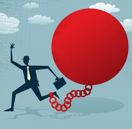 Abstract Businessman locked in a Ball and Chain