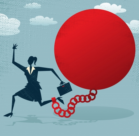 Abstract Businesswoman locked in a Ball and Chain