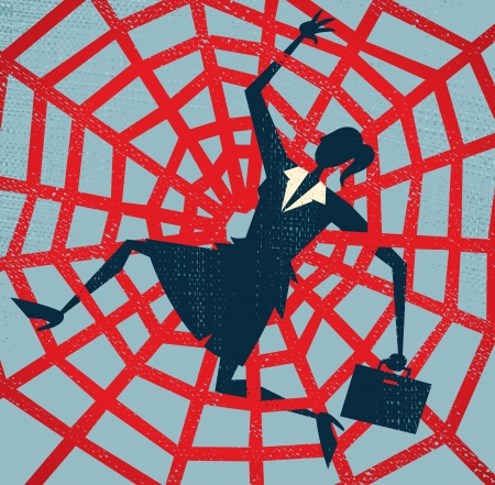 Abstract Businesswoman caught in a Spiders Web  Vector