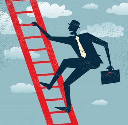 climbing ladder: Abstract Businessman climbing to the top of the corporate ladder of success