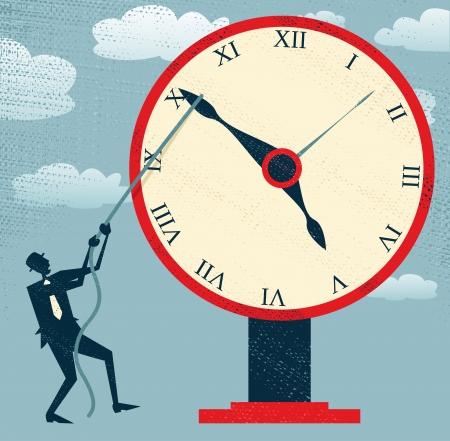 抽象的な実業家の保持時間を戻す  イラスト・ベクター素材