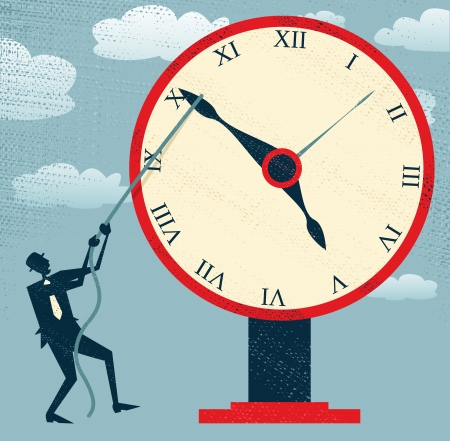 on time: Abstract Businessman holding back Time