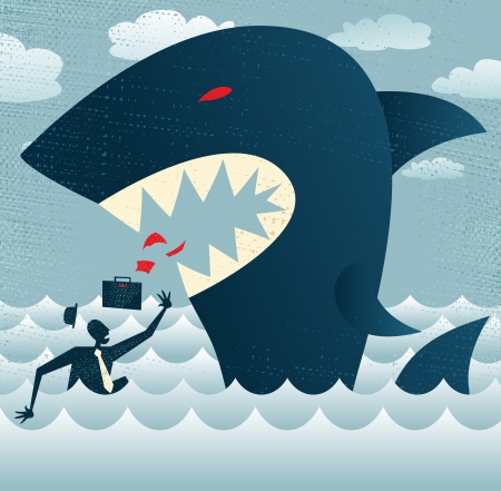 Abstract Businessman falls Prey to a Huge Shark    Stock Illustratie