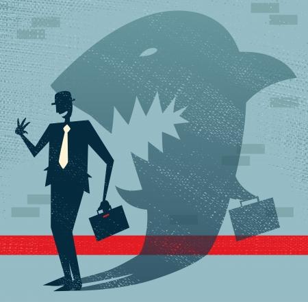 抽象的なビジネスマンは変装のサメ