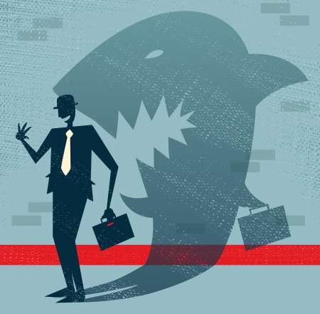 Abstract Businessman is a Shark in Disguise  Stock Illustratie