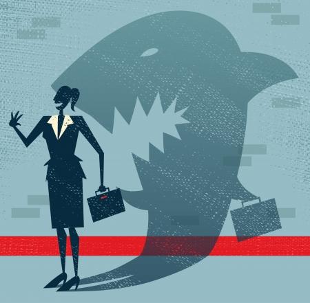 抽象的な実業家は変装のサメ  イラスト・ベクター素材