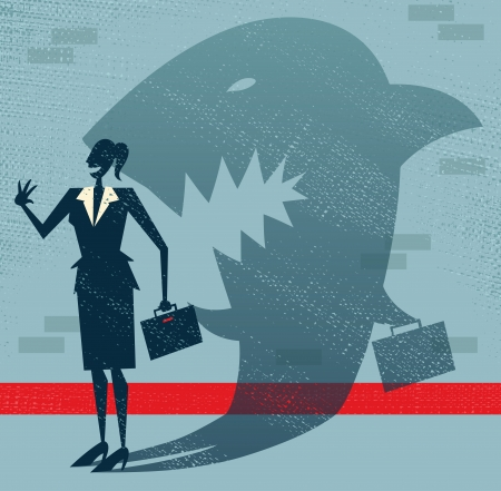 Abstract Businesswoman is a Shark in Disguise