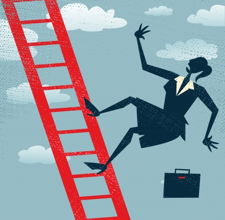 Abstract Businesswoman falls off the corporate ladder all the way to the bottom of her career