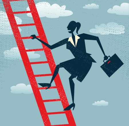 Abstract Businesswoman climbing to the top of the corporate ladder of success   Illustration